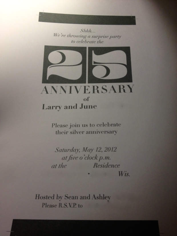 25th Anniversary Party Invitation